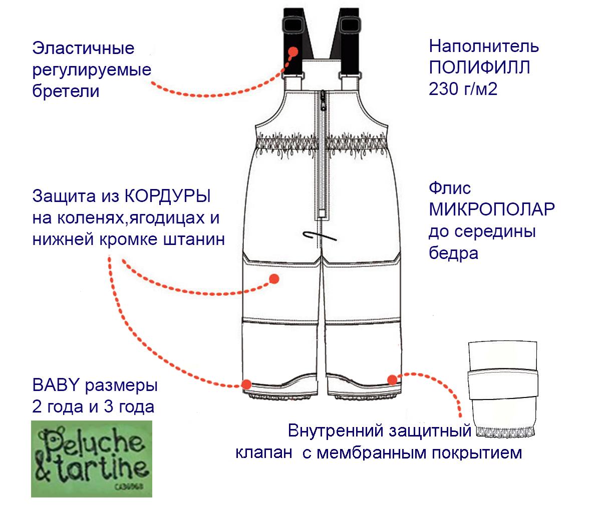 Техническое описание полукомбинезона ПЕЛЮШ BABY 2-3 года