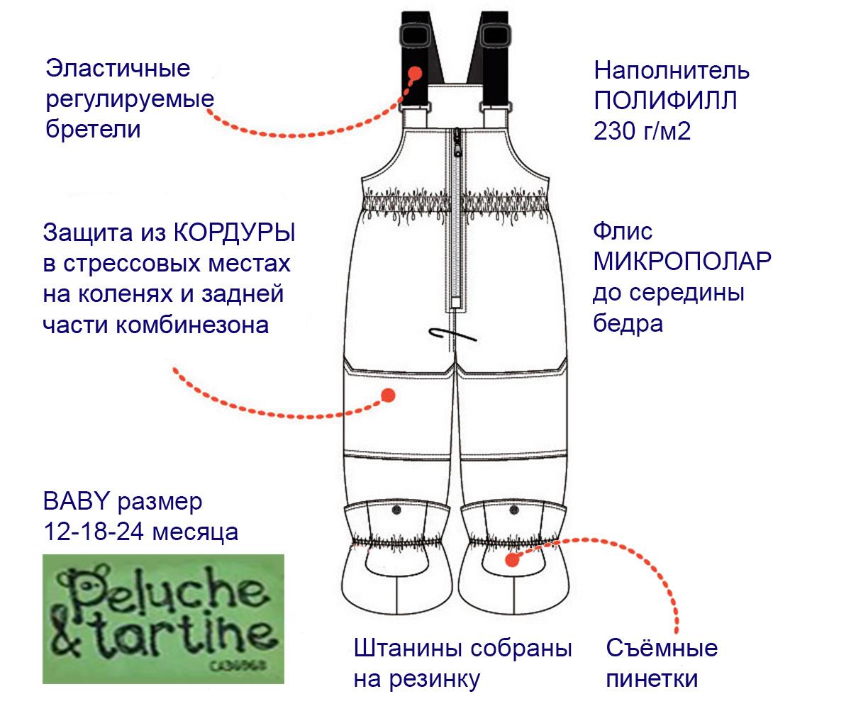 Техническое описание полукомбинезона ПЕЛЮШ BABY 12-24 месяца