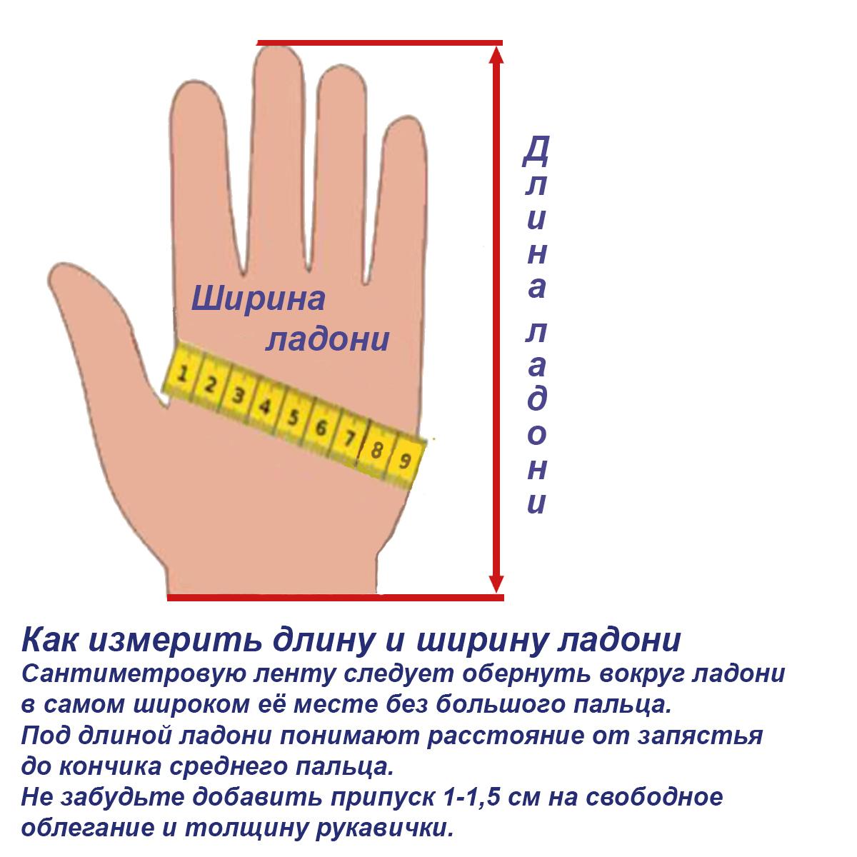 Выбрать размер рукавички