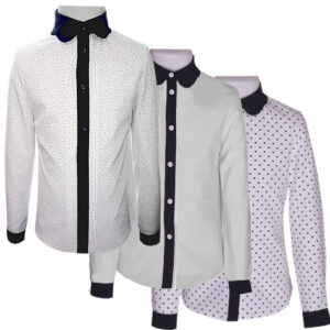 Школьные блузки ПИОНА белые, в горошек